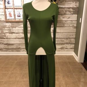 Long Green Split Front Tunic